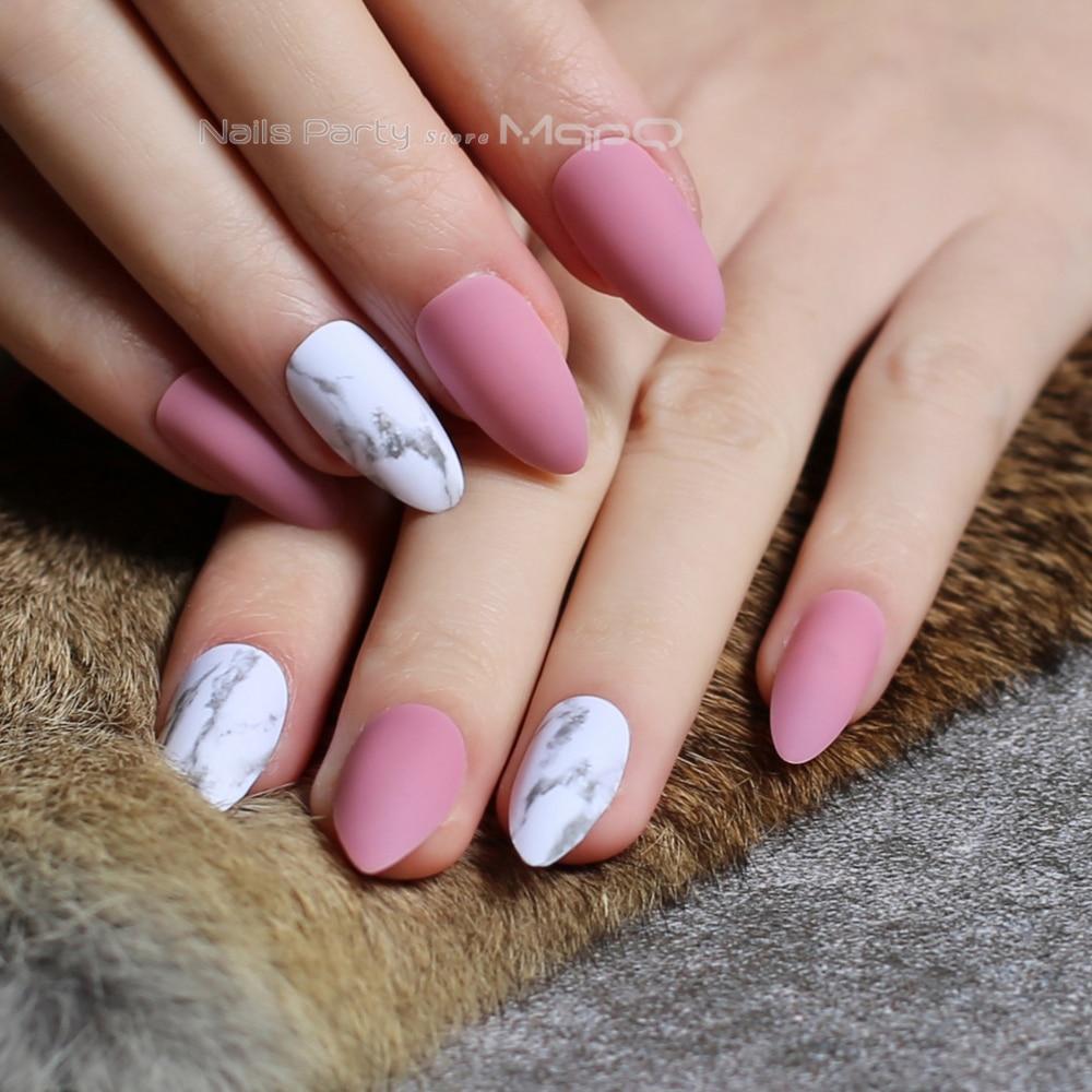 pink matte stiletto marble false