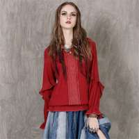 High Quality Spring Autumn Women Tops 2017 Vintage Cotton Linen Lotus Leaf Design Long Sleeve Shirt