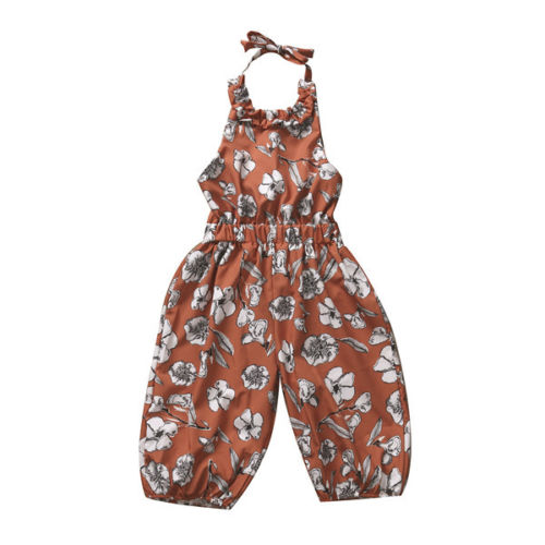 Strap Toddler Kids Baby Girl Summer Floral Romper Sleeveless Backless Jumpsuit Casual Children Girls Clothes 2