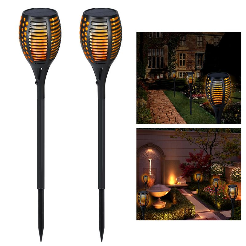 2pcs Solar LED Lights Waterproof Flickering Flames Torches Lights Outdoor Landscape Decoration Lighting Dusk to Dawn Auto On/Off jmkmgl solar flame lights path dancing flame lighting 66 led dusk to dawn flickering outdoor waterproof fence garden wall lights