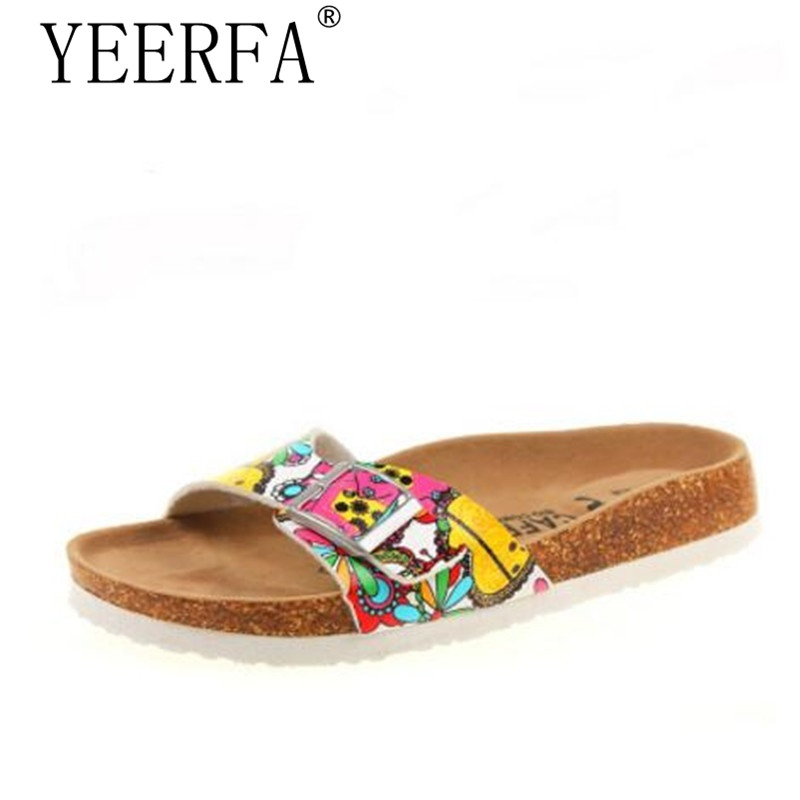 YIERFA Summer Women Sandals Cork Slippers Casual unisex Outdoor Shoes Flats Buckle Fashion Beach Shoes Slides Plus Size 35-43