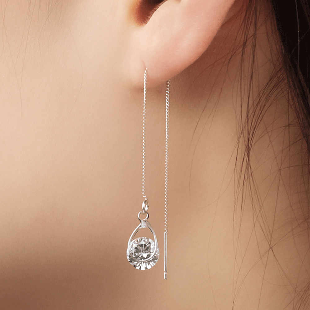 1 Pasang Anting-Anting untuk Wanita Wanita Rumbai Perhiasan Zircon Crystal Anting-Anting Perak Air Drop Earrings Aretes De Mujer