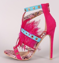 New Arrivals Pink Snake Leather Feather Women Pumps  Cut-out Buckle Strap Studded Gladiator Sandals Hollow Dress Shoes