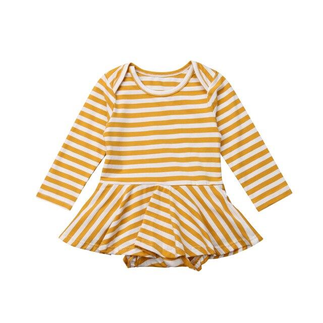 033160782 Striped Newborn Baby Girls Rompers Long Sleeve Yellow Ruffles Romper ...