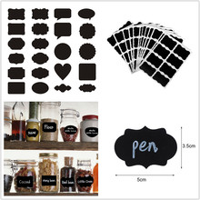 36pcs/set 5x3.5cm Erasable Blackboard Sticker Craft Kitchen Jars Organizer Labels Chalkboard Chalk Board Black
