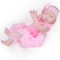 52cm Full Body Silicone Reborn Dolls Lifelike Reborn Dolls Babies Pink Close Eyes Sleeping Doll Bathed Baby Doll Toy Xmas Gifts