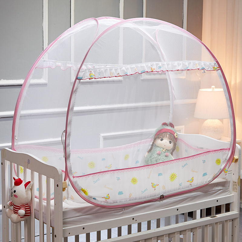 Summer mosquito netting baby bed Outdoor Folded Mongolian Yurt Mosquito Net Crib ins hot home neonatal bed tent insect net ...