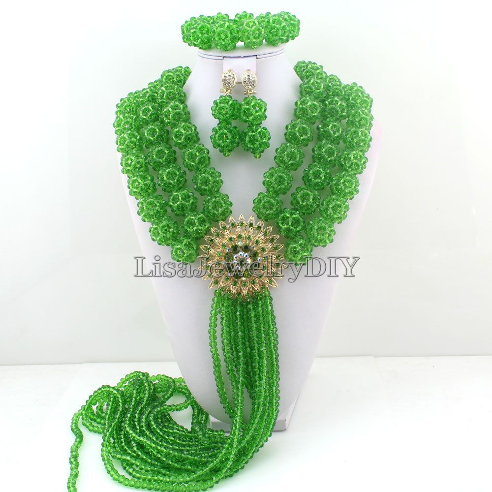 Green Nigerian Bridal Indian Beads Jewelry Set For Wedding African Beads Crystal Beads Jewelry Sets HD3744 fashion nigerian wedding bridal indian beads jewelry set african beads crystal beads balls jewelry sets hd3748