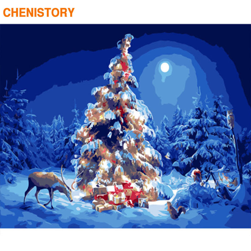 CHENISTORY Frame Christmas Trees Picture DIY Painting By ...