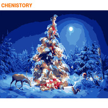 CHENISTORY Frame Christmas Trees Picture DIY Painting By Numbers Modern Wall Art Picture Acrylic Paint On Canvas 60x75cm Artwork(China)