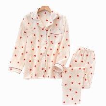 Новинка 2019, Дамский пижамный комплект с принтом сердечек, из крепа и хлопка, двухслойная газовая простая Женская одежда с длинными рукавами, брюки, домашняя одежда