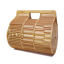 Fashion Luxury Women Bags Designer Cylindrical Hand Woven Bag Bamboo bag Stitching Hollow Clutch Bali Beach Holiday Handbag