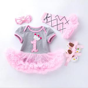 Image 4 - 4PCs pro Set Grau Rosa Nette 1st 2nd Geburtstag Baby Mädchen Tutu Kleid Prinzessin Crown Jumpersuit Stirnband Schuhe Leggins 0 24Months