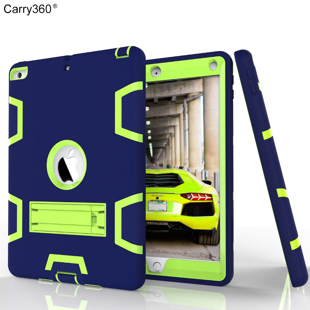 Carry360 Case for New iPad 9.7 inch 2017 Kids Safe Armor Shockproof Heavy Duty Silicon+PC Stand Cover For New ipad A1822 for apple ipad2 ipad3 ipad4 case kids safe armor shockproof heavy duty silicon pc stand back case cover for ipad 2 3 4 tablet pc