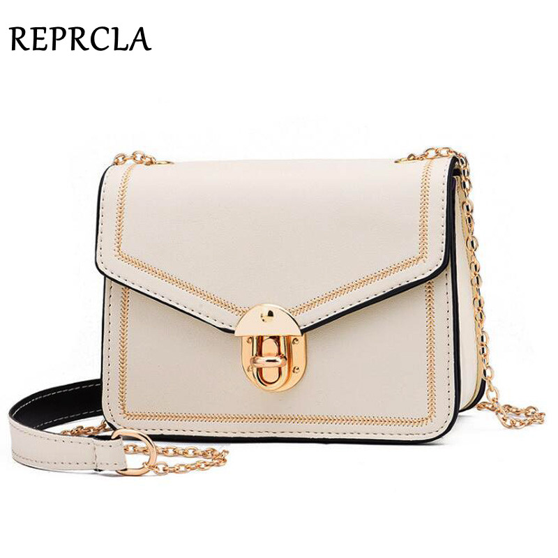 REPRCLA 2019 Summer New Women Bag Handbags Chain Strap & Lock Shoulder Crossbody Bag PU Leather Small Women Messenger Bags