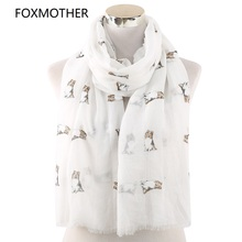 FOXMOTHER New Lightweight White Pink Sky Blue Dog Print Scarf for Dog lover Mom Gifts Dropshipping 2019 foxmother new fashion foil sliver white pink black cat dog paw scarf for pet dog lover mother gifts women scarves 2019