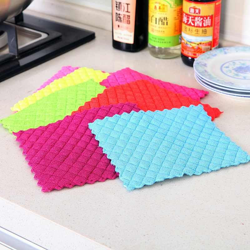 Washing Dish Cloth Bamboo Fiber Washing Towel Magic Kitchen Cleaning Wiping Rags Kitchen Gadgets