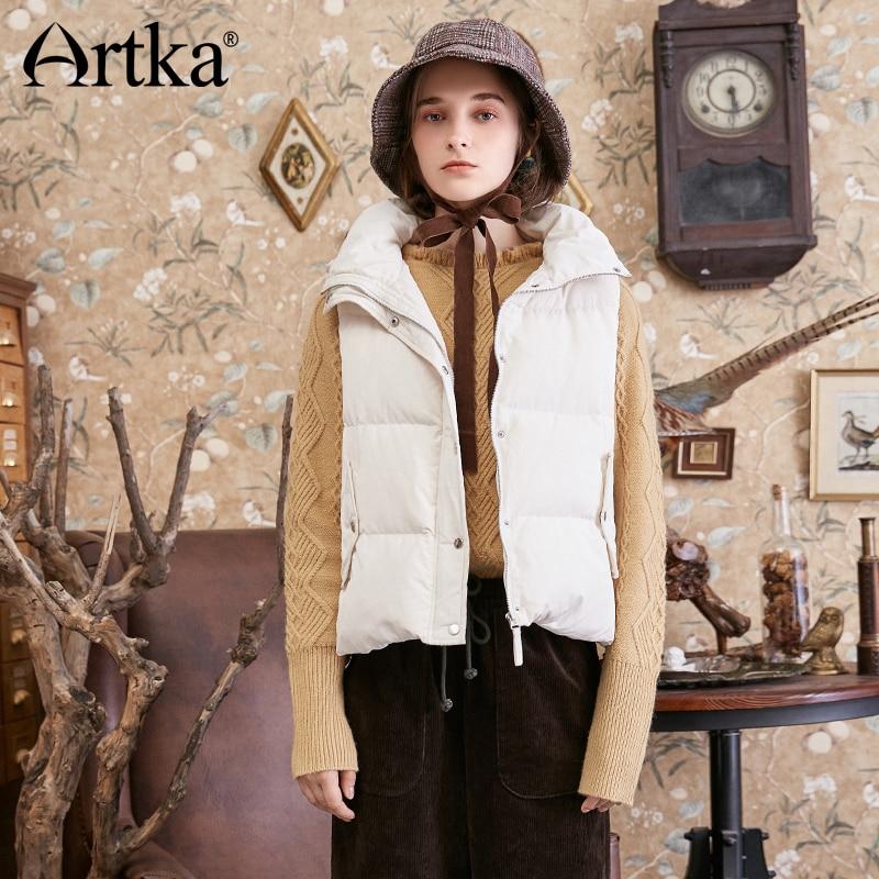 ARTKA 2018 Autumn Winter New Sweet Bow Hooded Women's 90% White Duck Down Vest Solid Drawstring Down Coat DK10281D