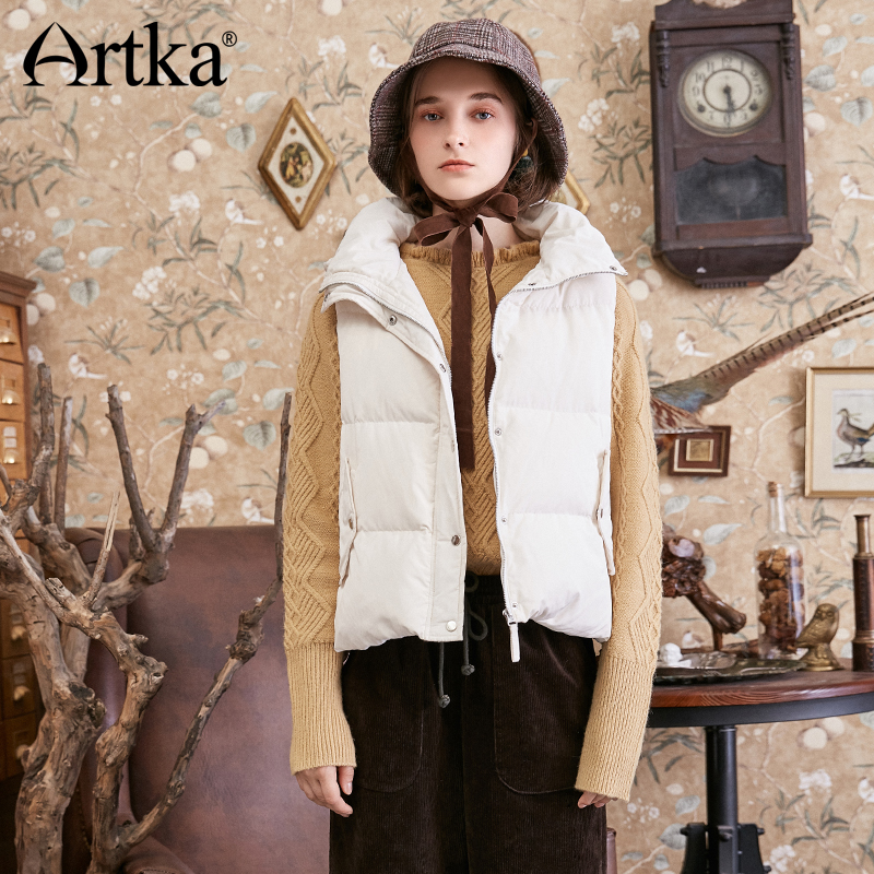 ARTKA 2018 Autumn Winter New Sweet Bow Hooded Women's 90% White Duck   Down   Vest Solid Drawstring   Down     Coat   DK10281D