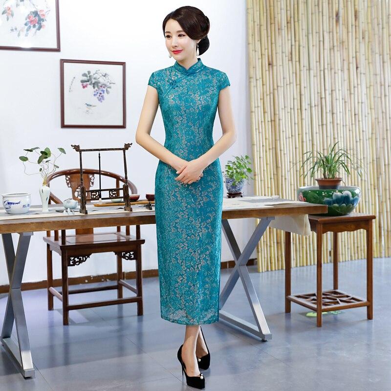 Bouton Dentelle Long Vintage Partie rouge Robe Ciel Style Mode D'été Robes 2018 Femmes Cheongsam De Qipao Mince À Pu Chinois Sexy mn80wvNO