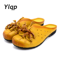 2017 Summer Shoes Fashion Women Leather Slippers Female Hollow Out Flats Women Genuine Leather Sandals Flat