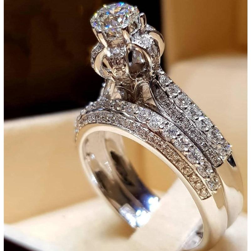 2 шт. свадебный набор элегантные кольца для женщин серебряного цвета Свадебные обручальные модные украшения с полностью блестящим Cubiz женское кольцо с цирконом - Цвет основного камня: G