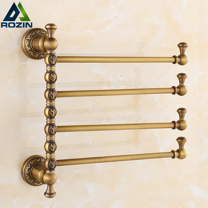 European Brass Towel Rack Toilet Activities 2/3/4 Rod Towel Bar Bathroom Antique 360 Rotate Towel Shelf F91381 european copper gold towel rack toilet towel bar bathroom antique rotary towel bar antique activities towel 3 bar f91381