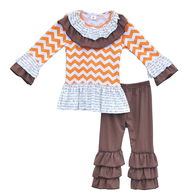 12346f7bbb03 Fall Winter Infant Girls 2 PCS Outfits Chevron Full Sleeve Top ...