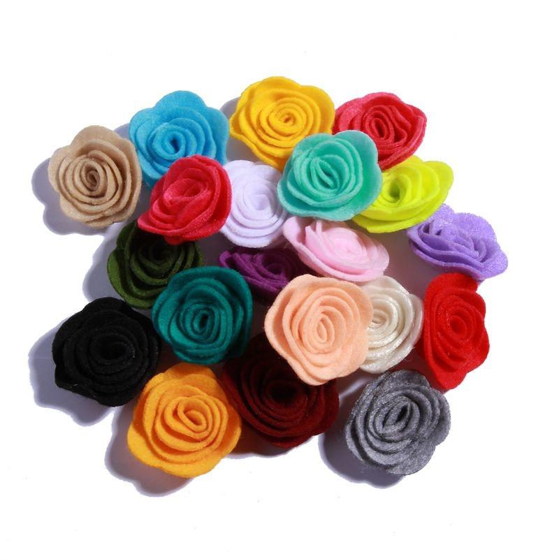 200PCS 4CM Mini Chic Felt Rose Flowers For Hair Headband Accessories Tiny Fabric Rose Flower Alternative