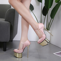 2018 New Women Platform Shoes Woman 16cm Ankle Strap Pumps Pink Sexy Stiletto High Heels