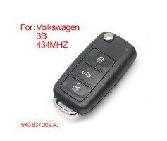 Brand New Smart Remote Key Fob 3 Button For VW VOLKSWAGEN New Bora SagitarTouran 5K0837202AJ 5K0 837 202 AJ 433HZ ID48 CHIP brand new high quality remote key renault megane smart card 3 button with insert small key blade 434mhz id46 chip