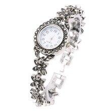Ретро Серебряный Кварцевые наручные часы Женские часы-браслеты Топ Роскошная Брендовая женская обувь Часы Ювелирные изделия из кристаллов подарки Reloj Mujer