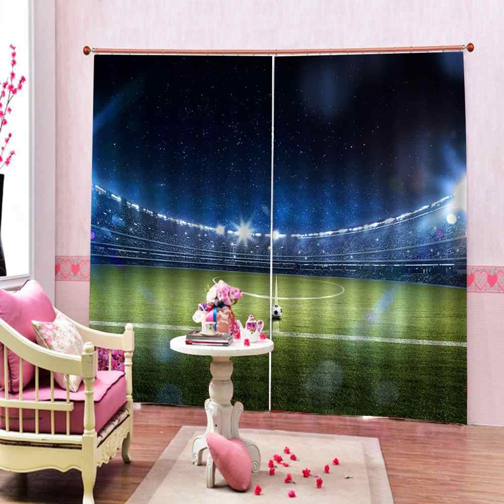 3D football field Windows Curtains Thin for Kids Beautiful Scenery  Living Room Bedroom Kitchen Curtains Drapes Custom Dropship
