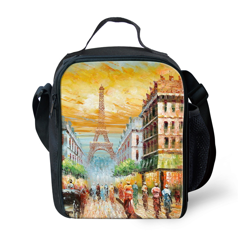 FORUDESIGNS Eiffel Tower Scenery Portable Lunch Bag Women Men Insulated Picnic Totes Carry Case For Kids Women Thermal Bag