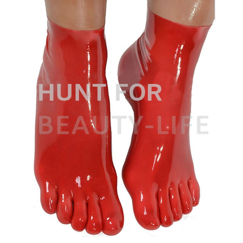 hot Rubber Socks with five Toes 100% natural latex hosen sexy seamless sox Unisex