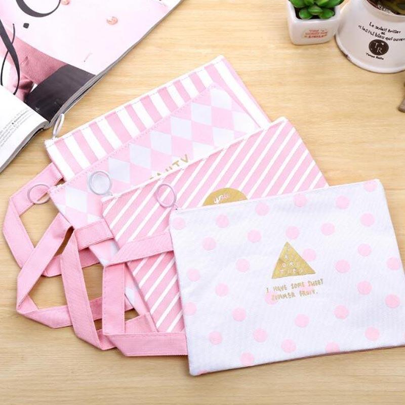 1 PCS Grid Large Capacity A4 File Bag Portable Canvas Zipper File Bag Gift Pencil Case Stationery Bag Office&School Supplies