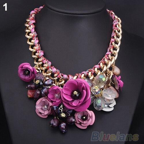 Hot Fashion Luxury Women Necklace Gold Chain Rhinestone