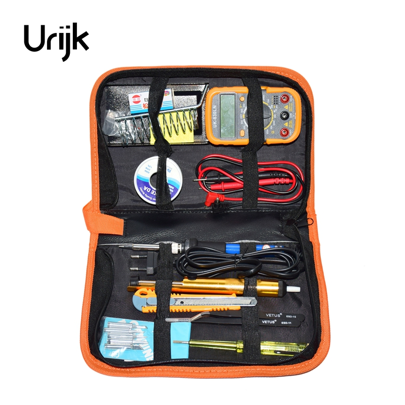 Urijk 220v 60w Eu Adjustable Temperature Electric Soldering Iron Kit+5pcs Tips Portable Welding Repair Tool Tweezers Solder Wire 60w 220v electric adjustable temperature welding solder 5pcs iron tips led helping hand stand clip magnifier