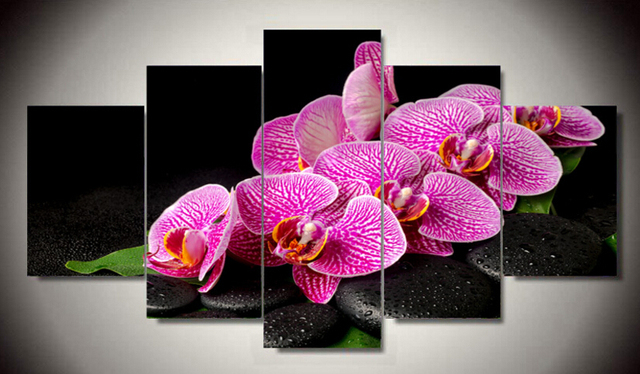 5 Panel Large Zen Painting Canvas Art pictures decor Feng Shui Wall ...