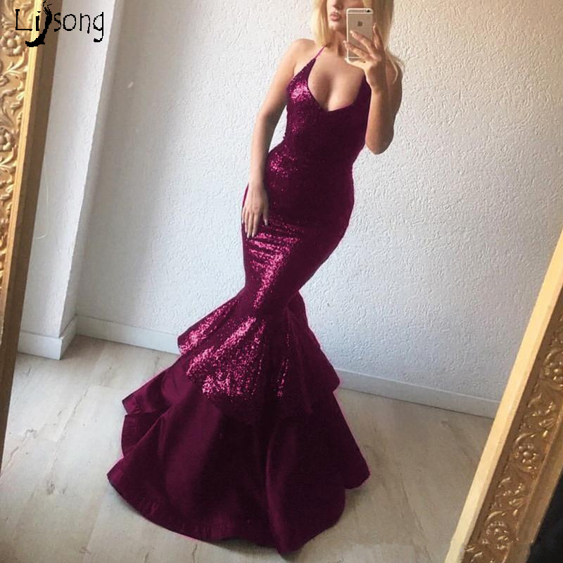 Bling Bling Burgundy Sheath Tiered Mermaid Prom Dress Hot Sexy Maxi Gowns For Charming Buxom Women Custom Made Celebrity Gown