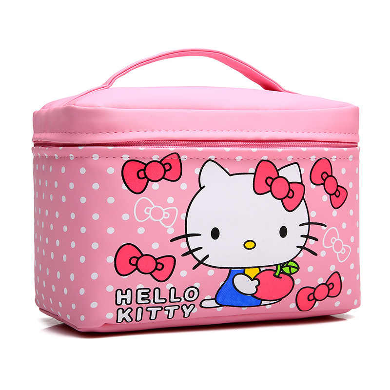 7a2a6cbe2070 ... Women Cute Hello Kitty Cosmetic Bag Cases PU Leather Beauty Vanity Make  up Box Travel Organizer ...