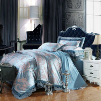Noble European Style Leaves Print Light Blue Linens 4 6pcs Cotton Silk Jacquard Queen King Size