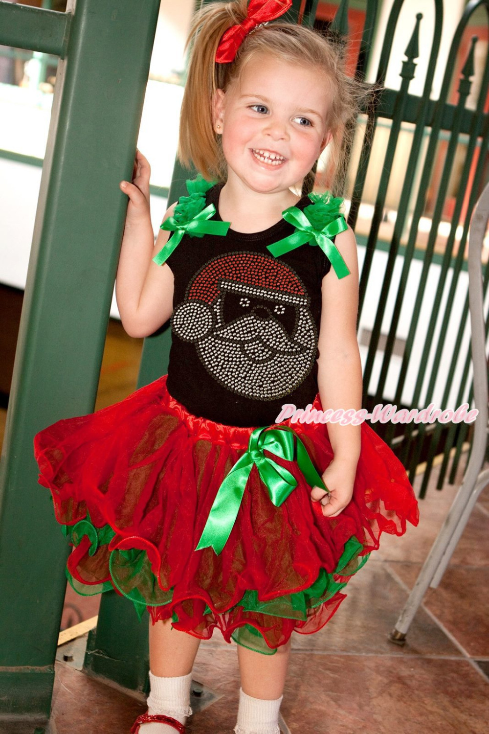 XMAS Rhinestone Santa Claus Black Top Red Green Petal Girl Pettiskirt Set NB-8Y MAMG1203 цены онлайн