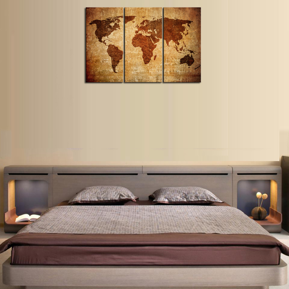 3 piece framed wall art diy canvas paintings piece abstract yellow world map with framed wall art for living room decor retro print on largein painting calligraphy from