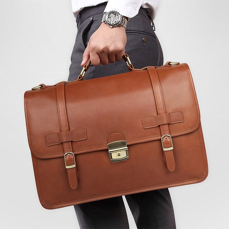 Nesitu High Quality New Anti-thief Brown Thick Genuine Crazy Horse Leather Office Men's Briefcase Portfolio Messenger Bags M7397