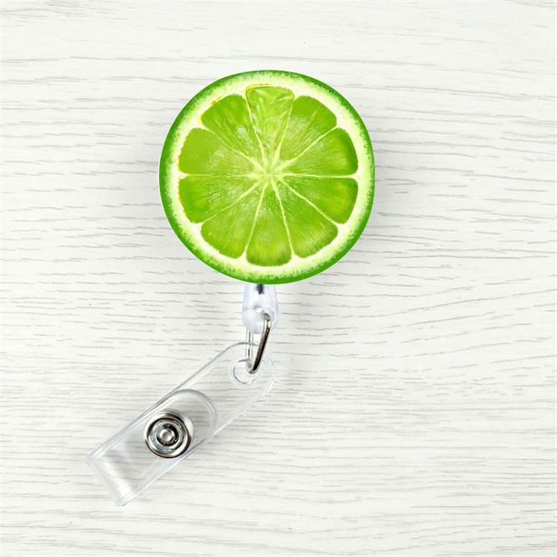 2019 New Design 1 Piece Retractable Nurse Badge Reel Clip Cartoon Fruit Lemon Watermelon Students IC ID Card Badge Holder
