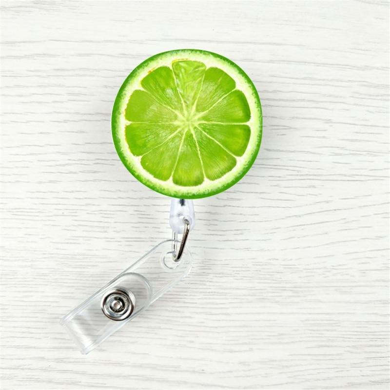 2019 New Design 1 Piece Retractable Nurse Badge Reel Clip Cartoon Fruit Lemon Watermelon Students IC ID Card Badge Holder