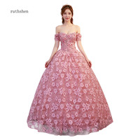 ruthshen Floral Print Ball Gown Prom Dresses Off The Shoulder Beaded Sweet 16 Gowns Pink Vestido Debutante Quinceanera Dresses