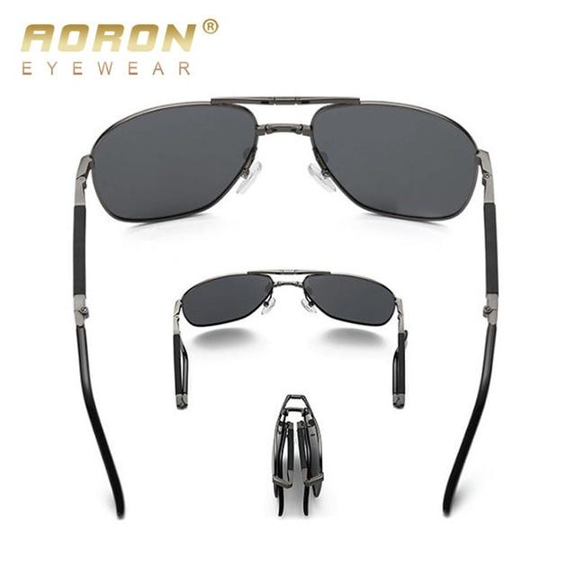 AORON Portable Folded Polarized Lens Sunglasses Men's Classic Retro Goggles Male Outdoors Leisure Eyewear Oculos Brand Designer