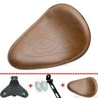 Fiamma moto in pelle marrone sedile singolo & sliver rotonda primavera e staffa e piastra di base per harley honda yamaha
